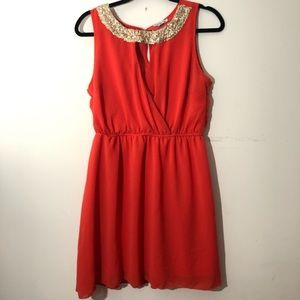 Coral & gold sequin neck dress